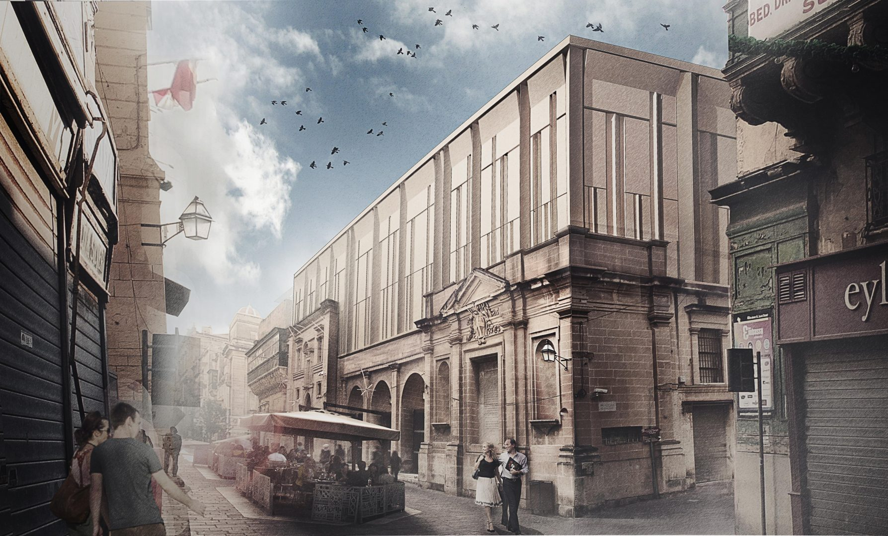 View of the extension from Merchant Street. Artist impression. All credits AP Valletta.