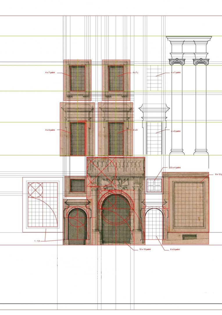 Study of the facade and its proportions. Credits AP Valletta.