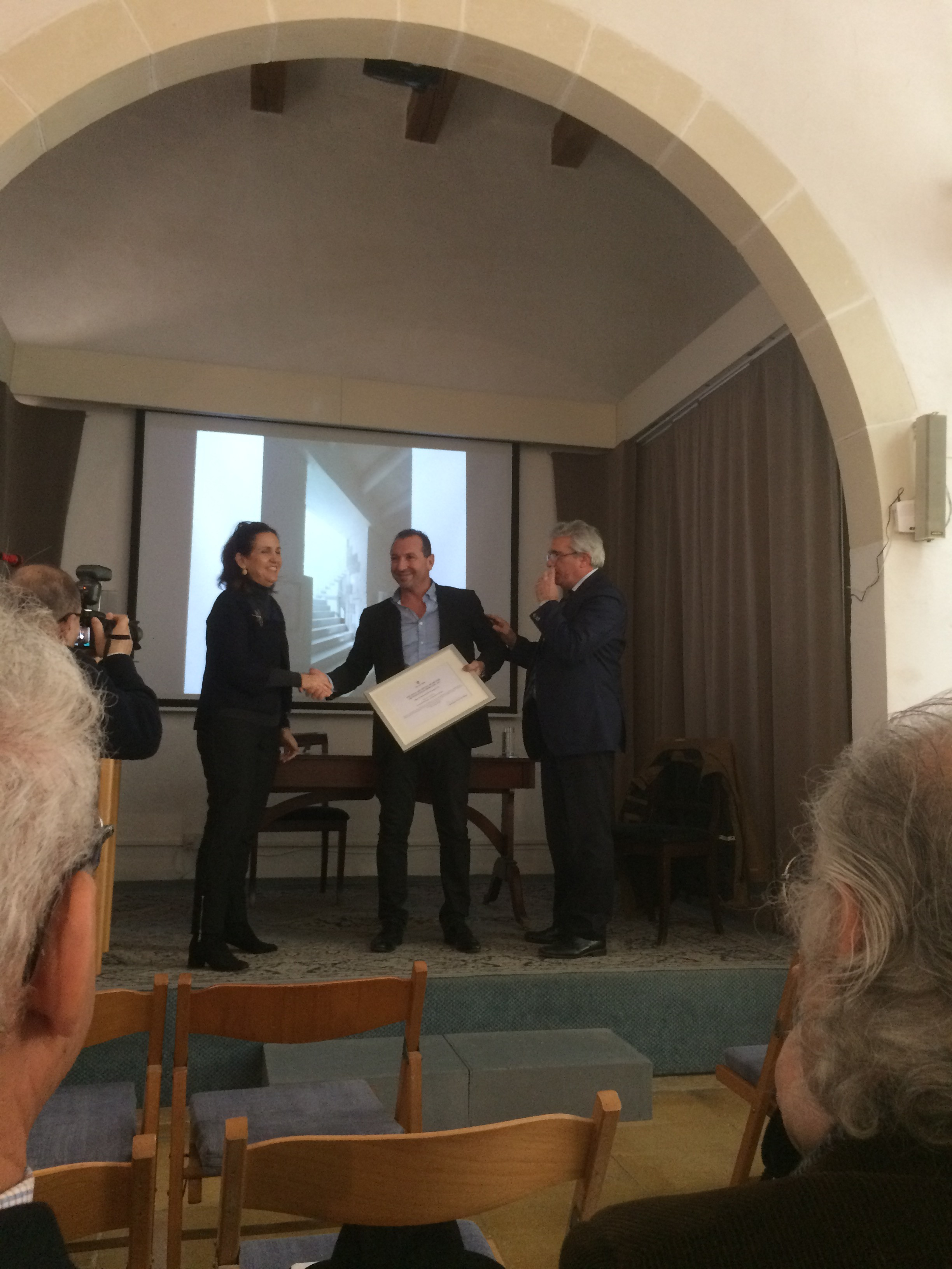 AP's Director David Drago receiving the prize at the ceremony held on Friday 16th February 2018 at the Din l Art Helwa headquarter in Valletta.